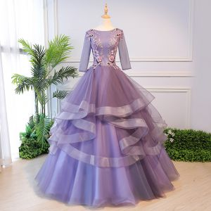 Elegant Lavender Quinceañera Prom Dresses 2018 Ball Gown Appliques Pearl Square Neckline Backless 3/4 Sleeve Cascading Ruffles Floor-Length / Long Formal Dresses