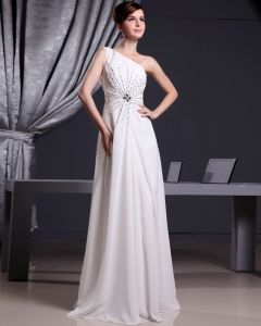 Fashion Chiffon Charmeuse Silk Beaded One Shoulder Court Train Sleeveless Women Evening Dress