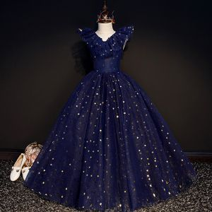 Starry Sky Navy Blue Birthday Flower Girl Dresses 2020 Ball Gown V-Neck Sleeveless Star Sequins Glitter Tulle Floor-Length / Long Ruffle