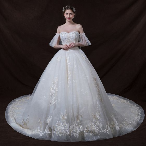 Chic / Beautiful Ivory Wedding Dresses 2018 Ball Gown Off-The-Shoulder Sweetheart 1/2 Sleeves Backless Appliques Lace Sequins Beading Cathedral Train Ruffle