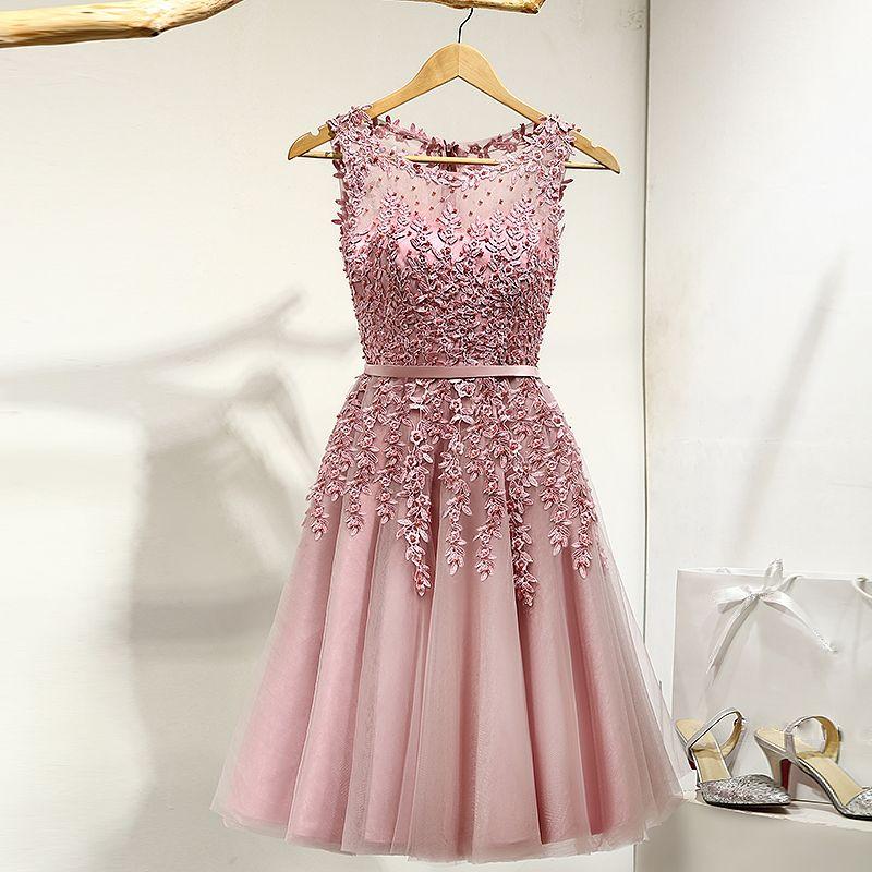 Schöne Abend Festliche Kleider 2017 Partykleider Spitze Blumen Applikationen Perle Rundhalsausschnitt Ärmellos Pink Kurze A Linie