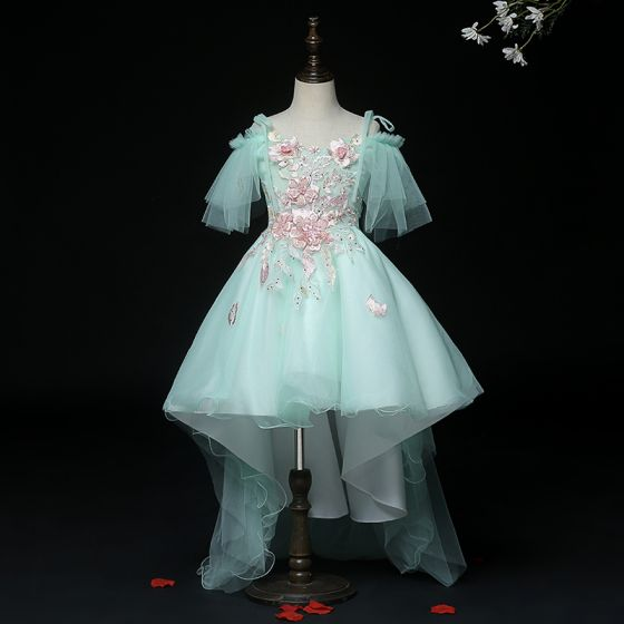 High Low Mint Green Birthday Flower Girl Dresses 2020 Ball Gown Spaghetti Straps Short Sleeve Backless Appliques Lace Pearl Rhinestone Sequins Asymmetrical Ruffle