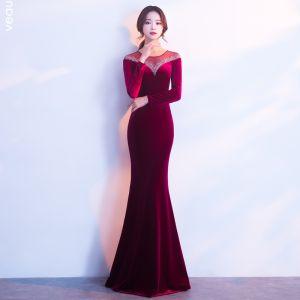 Modern / Fashion Burgundy Suede Evening Dresses  2017 Trumpet / Mermaid Scoop Neck Long Sleeve Beading Rhinestone Floor-Length / Long Pierced Formal Dresses