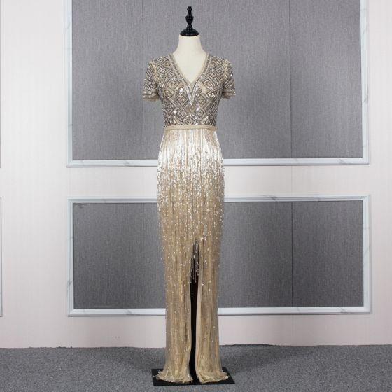 Luxury / Gorgeous Gold Evening Dresses  2020 Trumpet / Mermaid Deep V-Neck Short Sleeve Sash Handmade  Beading Tassel Floor-Length / Long Ruffle Formal Dresses