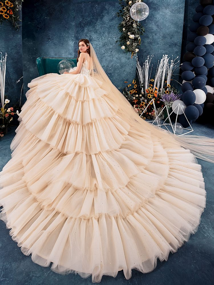 High-end Champagne Wedding Dresses 2019 Ball Gown Spaghetti Straps Beading Sequins Lace Flower Sleeveless Backless Cascading Ruffles Royal Train