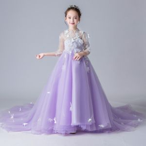 Chinese style See-through Lavender Flower Girl Dresses 2019 A-Line / Princess High Neck 3/4 Sleeve Appliques Flower Rhinestone Pearl Court Train Ruffle Wedding Party Dresses