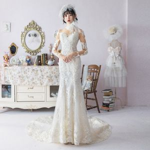 Charming Ivory See-through Wedding Dresses 2019 Trumpet / Mermaid Scoop Neck Long Sleeve Appliques Lace Beading Cathedral Train Ruffle