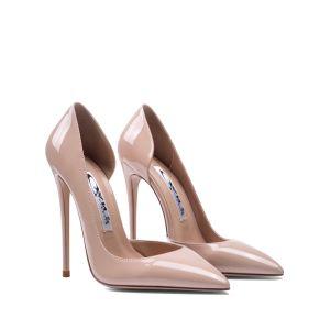 Chic Beige Soirée Chaussures Femmes 2020 Cuir Verni 10 cm Talons Aiguilles À Bout Pointu Talons Hauts