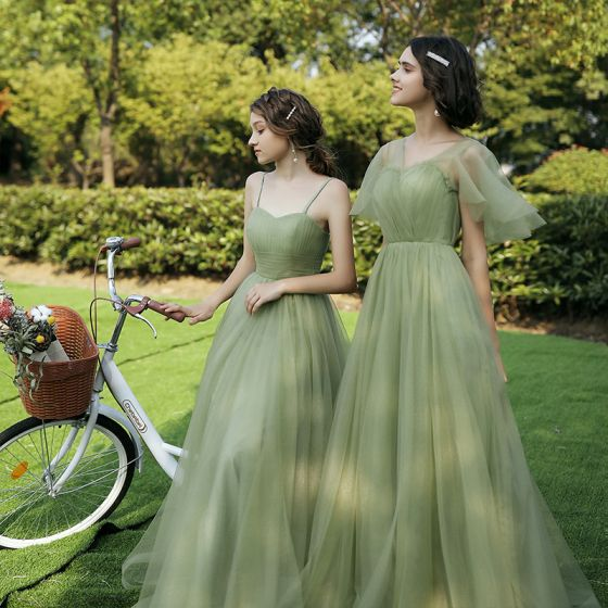 Modest / Simple Sage Green Bridesmaid Dresses 2020 A-Line / Princess Backless Floor-Length / Long Ruffle