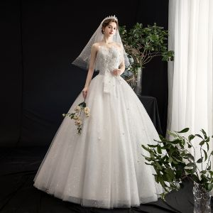 Affordable Ivory Wedding Dresses 2020 A-Line / Princess Sweetheart Sleeveless Backless Appliques Flower Beading Pearl Glitter Tulle Floor-Length / Long Ruffle