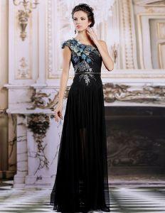 Czarne Aplikacje Szyfonowe Wzburzyć Sukienki Wieczorowe Sukienki Wizytowe