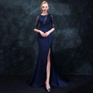 Elegante Marineblau Abendkleider 2018 Meerjungfrau Rundhalsausschnitt 1/2 Ärmel Perlenstickerei Strass Gespaltete Front Sweep / Pinsel Zug Rüschen Festliche Kleider