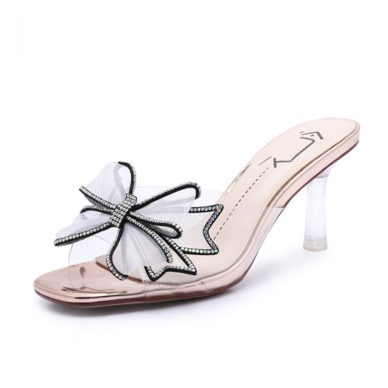 Fashion Champagne Street Wear Womens Sandals 2020 Rhinestone Bow 7 cm Stiletto Heels Open / Peep Toe Sandals