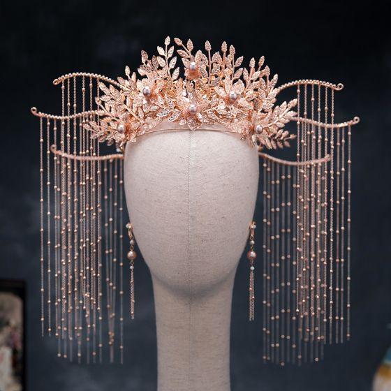 Chinesischer Stil Rose Gold Brautschmuck 2020 Legierung Blatt Perle Quaste Ohrringe Diadem Hochzeit Brautaccessoires