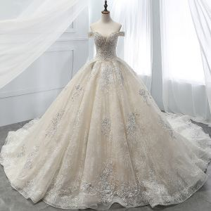 Luxury / Gorgeous Champagne Wedding Dresses 2018 Ball Gown Beading Lace Flower Crystal Pearl Rhinestone Sequins Off-The-Shoulder Backless Short Sleeve Royal Train Wedding