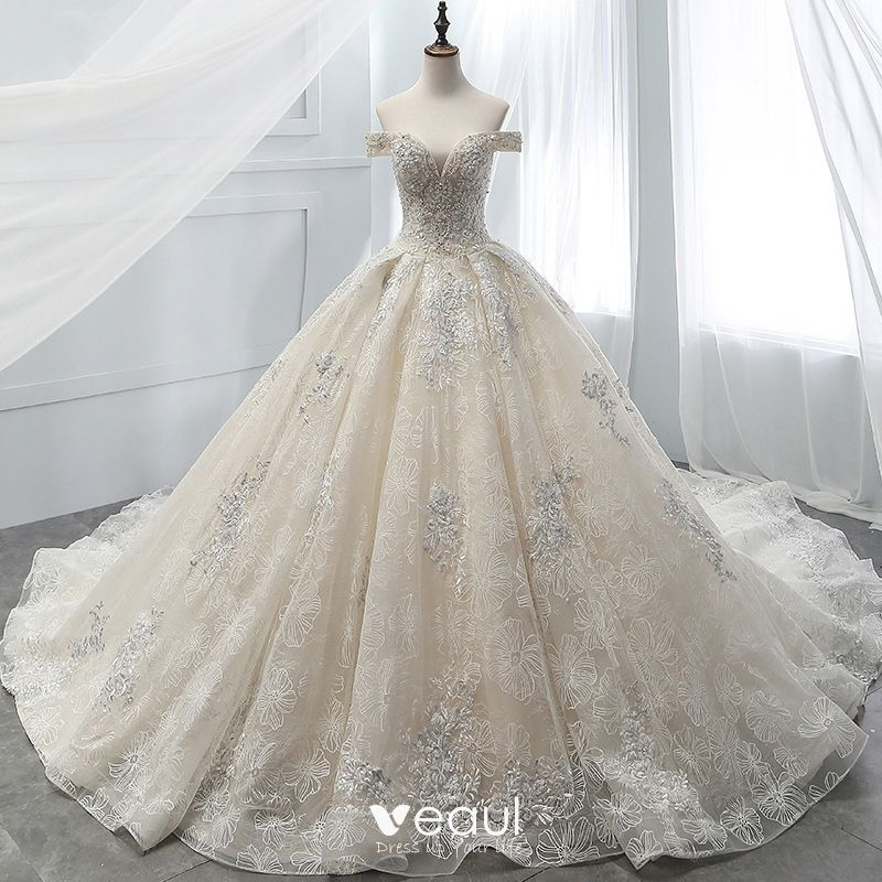 10a89cf05f7 Luxury   Gorgeous Champagne Wedding Dresses 2018 Ball Gown Beading Lace  Flower Crystal Pearl Rhinestone Sequins ...