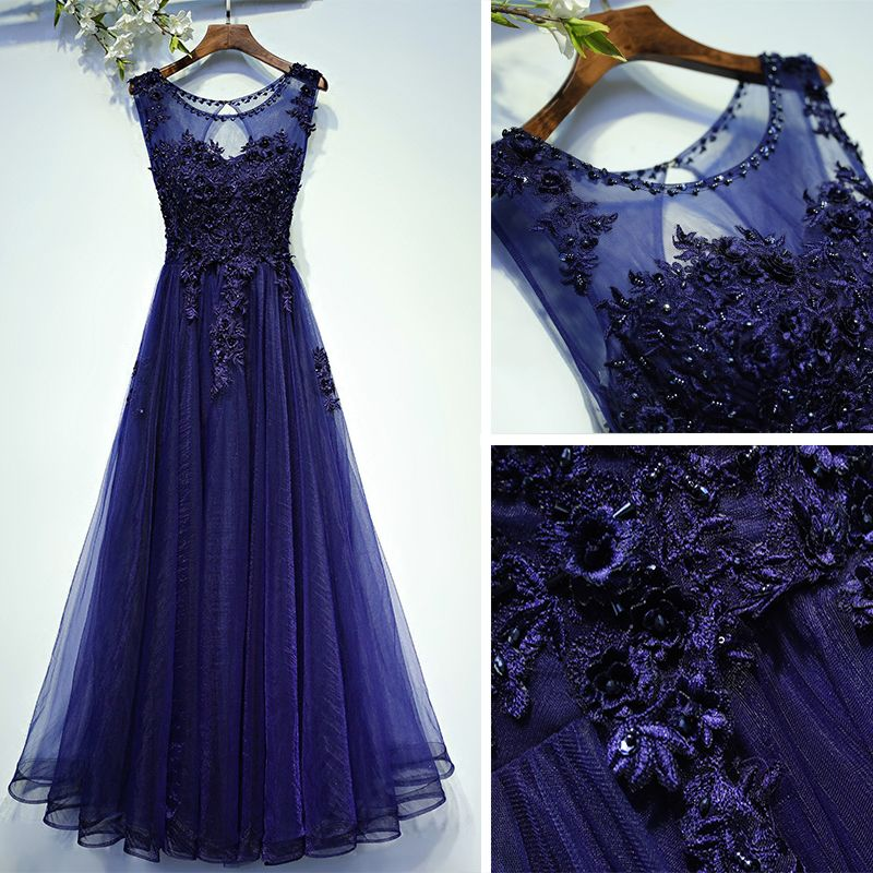 Classic Navy Blue Formal Dresses 2017 Lace Flower Sequins Scoop Neck Sleeveless Ankle Length A-Line / Princess Evening Dresses
