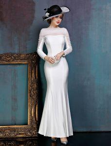 Einfachen Weißen Abendkleid Lang Satin Festliche Kleid Mit Rüschen Tüll