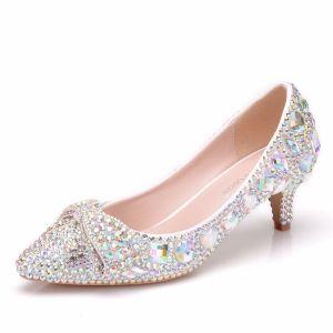 Sparkly Silver Wedding Shoes 2018 Crystal Rhinestone 5 cm Stiletto Heels Pointed Toe Wedding Pumps