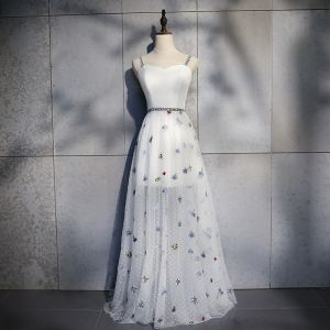 Lovely Ivory Summer Evening Dresses  2019 A-Line / Princess Shoulders Sleeveless Butterfly Embroidered Floor-Length / Long Ruffle Backless Formal Dresses
