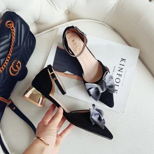 Lovely Black Casual Womens Sandals 2018 Suede Bow 4 cm Thick Heels Ankle Strap Pointed Toe Sandals
