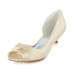 Beautiful Beige Wedding Shoes Kitten Heel Peep Toe Pumps