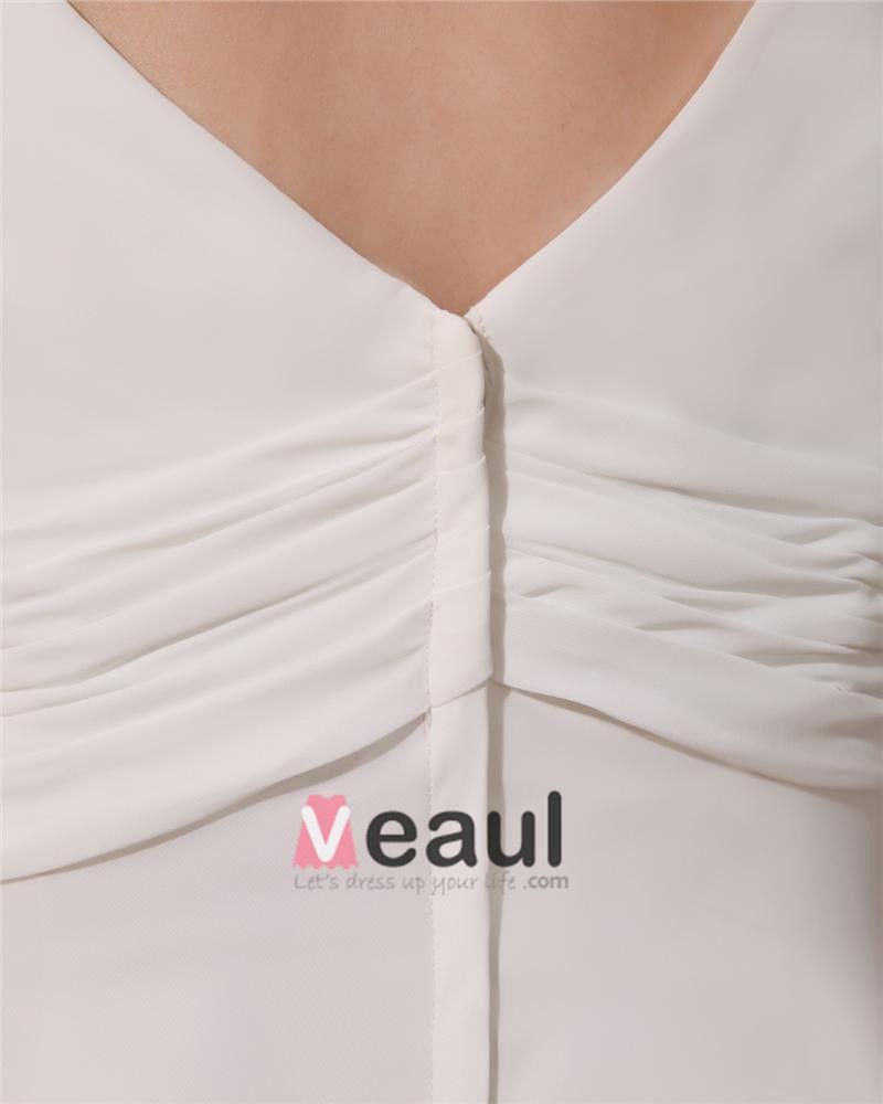 V Neck Sweep Plus Size Bridal Gown Wedding Dress