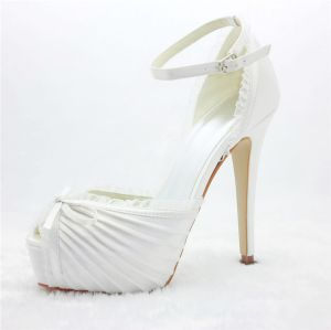 Princess Bridal Shoes Satin With Lace Stilettos Platform Sandals With Ankle Strap