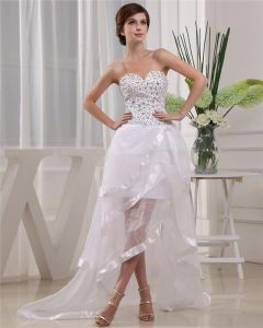 Satin Gauze Beadings Sweetheart Sleeveless Backless Court Train Asymmetrical Mini Wedding Dress