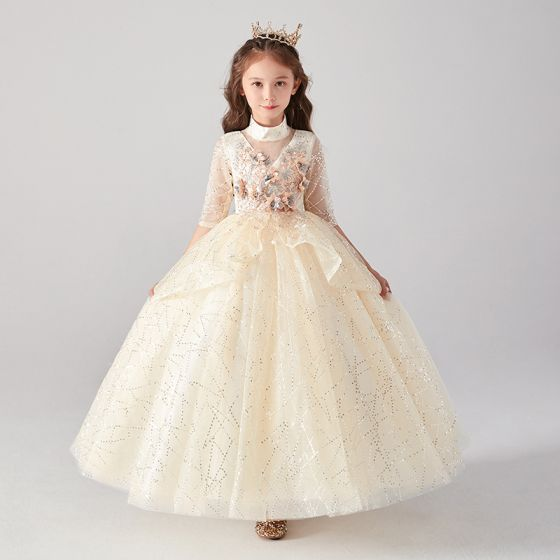 Vintage / Retro Champagne Birthday Flower Girl Dresses 2020 Ball Gown High Neck 3/4 Sleeve Appliques Flower Rhinestone Sequins Floor-Length / Long Ruffle
