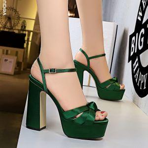 Fashion Dark Green Street Wear Womens Sandals 2020 Satin Ankle Strap 12 cm Thick Heels Open / Peep Toe Sandals