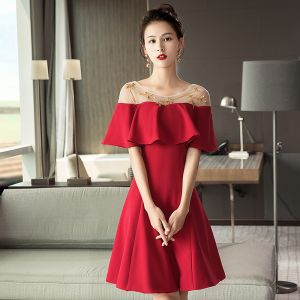 Modern / Fashion Red See-through Homecoming Graduation Dresses 2018 A-Line / Princess Scoop Neck Short Sleeve Beading Short Ruffle Backless Formal Dresses