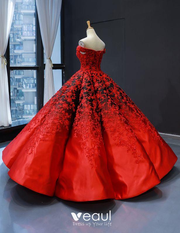 Luxus Herrlich Rot Schwarz Satin Tanzen Ballkleider 2020 Ballkleid Off Shoulder Kurze Ärmel Rückenfreies Applikationen Spitze Perlenstickerei Perle