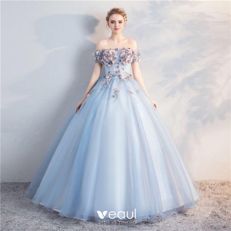 Hermoso Azul Cielo Quinceañera Vestidos De Gala 2018 Ball Gown Apliques Perla Fuera Del Hombro Sin Espalda Manga Corta Largos Vestidos Formales