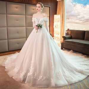 Best Ivory See-through Wedding Dresses 2019 A-Line / Princess Off-The-Shoulder Long Sleeve Backless Appliques Lace Cathedral Train Ruffle
