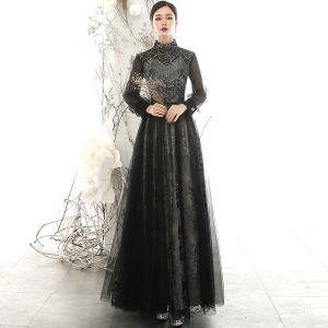 Vintage Elegante Schwarz Durchsichtige Abendkleider 2020 A Linie Stehkragen Geschwollenes Lange Ärmel Glanz Tülle Lange Rüschen Rückenfreies Festliche Kleider