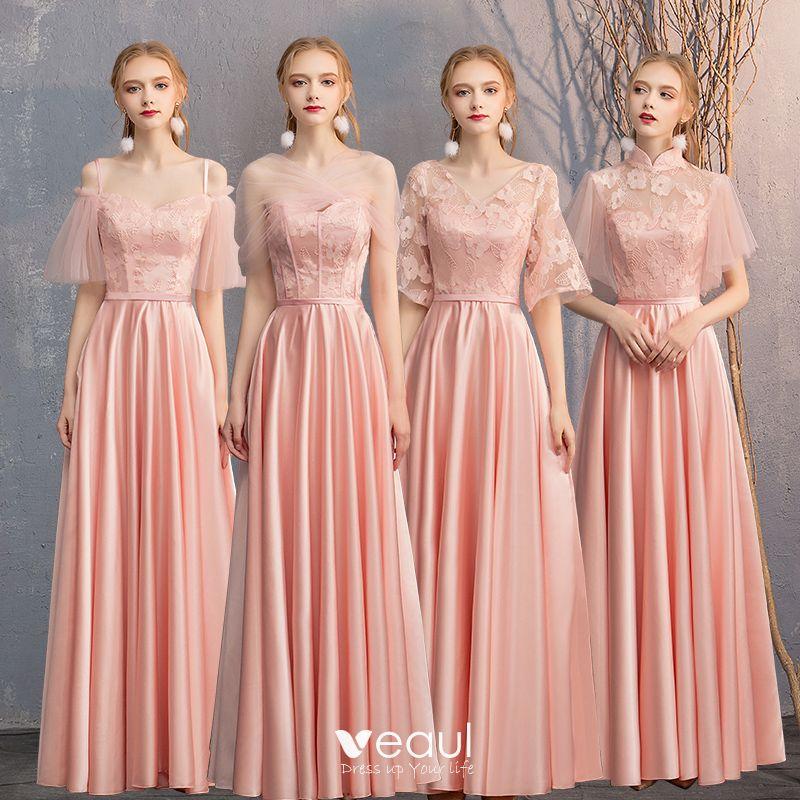 ed1703a89db Abordable Perle Rose Satin Robe Demoiselle D honneur 2019 Princesse  Ceinture Appliques En Dentelle Longue Dos ...