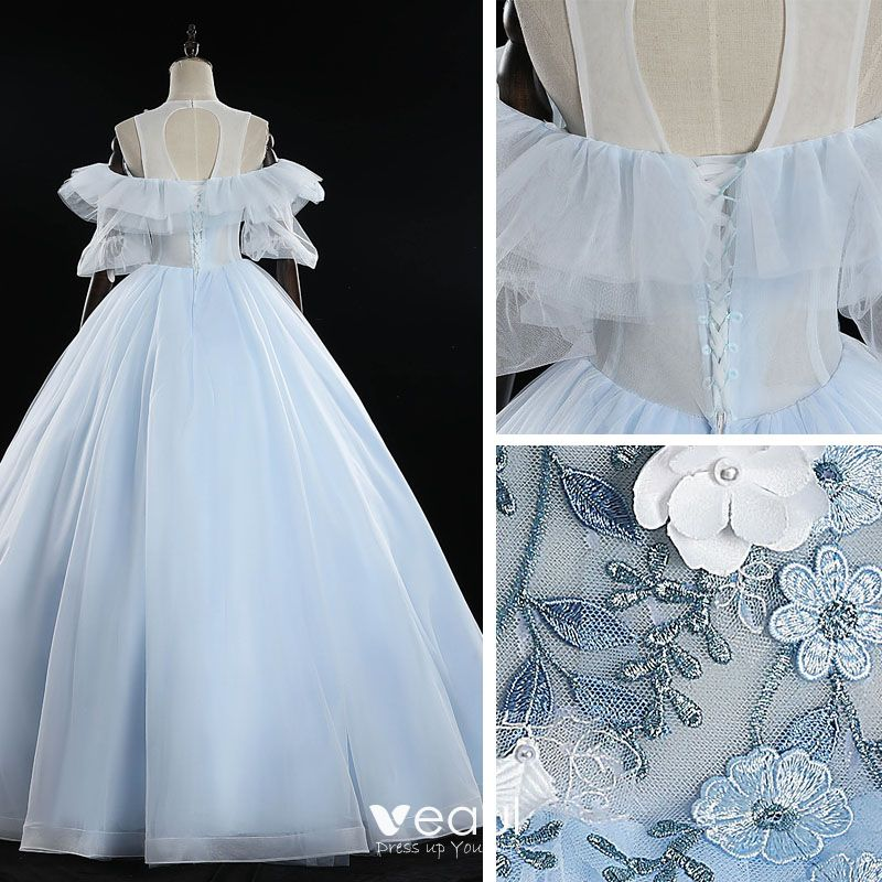 Classy Sky Blue Prom Dresses 2019 Ball Gown Scoop Neck Pearl Lace Flower Appliques Short Sleeve Backless Floor-Length / Long Formal Dresses