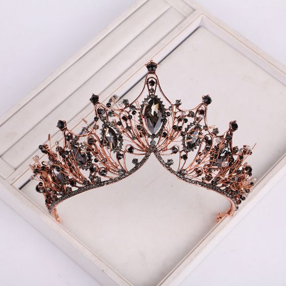 Vintage / Retro Baroque Black Tiara 2019 Metal Beading Rhinestone Bridal Hair Accessories