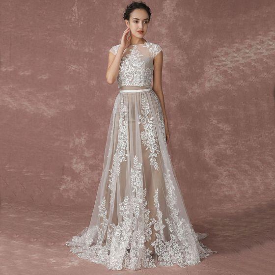romántico playa champán vestidos de novia 2017 a-line / princess