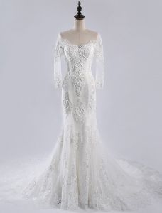 Luxury Mermaid Wedding Dresses 2016 Scoop Neck Applique Heart Shaped Lace Wedding Dress With Long Tailing