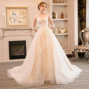 Elegant Champagne Wedding Dresses 2018 A-Line / Princess Beading Pearl Crystal Lace Flower Scoop Neck Backless 1/2 Sleeves Court Train Wedding