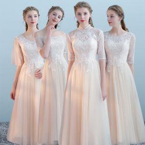 Elegante Champagne Bruidsmeisjes Jurken 2018 A lijn Appliques Kant Tea-length Ruche Ruglooze Jurken Voor Bruiloft