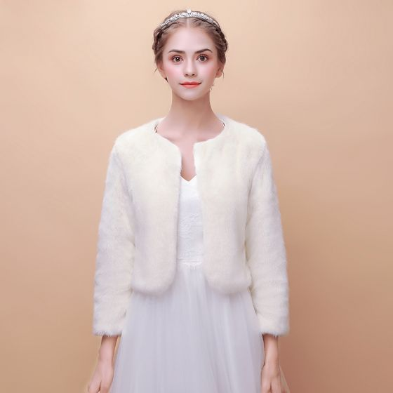 White Winter Scoop Neck Long Sleeve Faux Fur Prom Wedding Coats / Jackets 2017