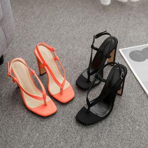 Sexy Orange Désinvolte Sandales Femme 2020 12 cm Talons Épais Peep Toes / Bout Ouvert Sandales