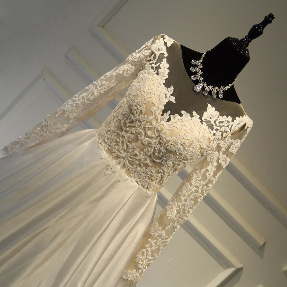 Elegant Wedding Dresses 2017 A-Line / Princess Scoop Neck Long Sleeve Appliques Lace Ivory Satin Chapel Train