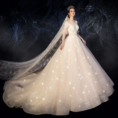 Chic / Beautiful Champagne See-through Wedding Dresses 2019 A-Line / Princess Scoop Neck Bell sleeves Backless Glitter Tulle Appliques Lace Beading Pearl Chapel Train Ruffle