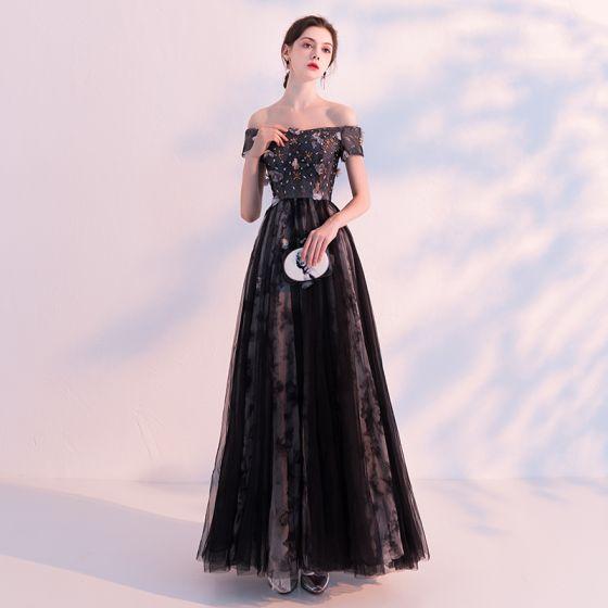 9756731481 Chic   Beautiful Black Evening Dresses 2018 A-Line   Princess Off-The-Shoulder  Short Sleeve Appliques Flower ...