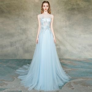 Elegant Sky Blue See-through Evening Dresses  2019 A-Line / Princess Scoop Neck Sleeveless Appliques Lace Feather Beading Pearl Sweep Train Ruffle Backless Formal Dresses