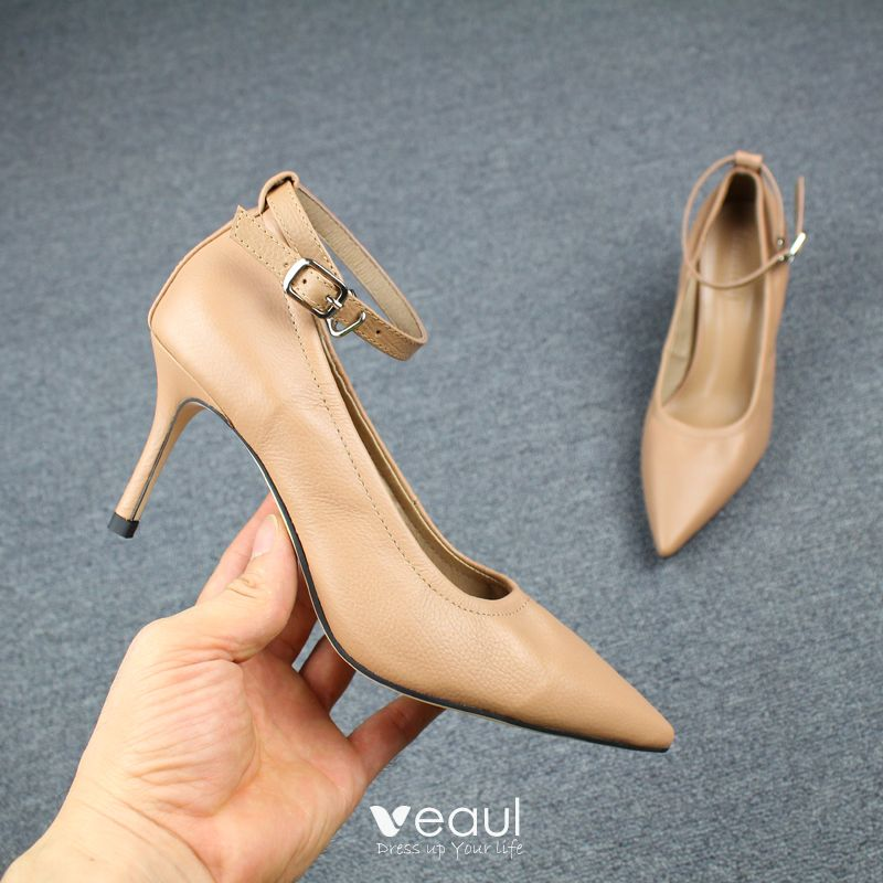 Chic / Beautiful Khaki Office Pumps 2019 Leather 7 cm Stiletto Heels Ankle Strap Pointed Toe Pumps
